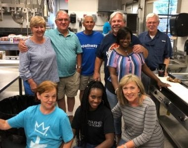 Photo of a church group volunteering at Waterfront Rescue Mission