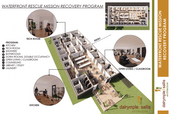 A diagram of Waterfront Rescue Mission's new addiction recovery center facility