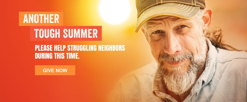 """Photo of an older man with text overlaid reading: """"Another though summer. Please help struggling neighbors during this time. Give now."""" The image is a link to a donate page to help our community's homeless."""